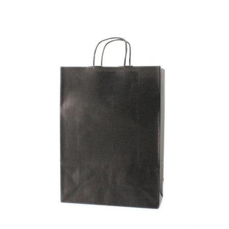 100 x Tragetaschen mit gedrehten Papierkordel und Bodenverstärkung 54 + 13 x 46 cm., außen schwarz