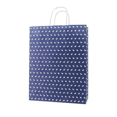 250 x Tragetaschen mit gedrehten Papierkordel  32 + 12 x 41 cm., Wave Dessin