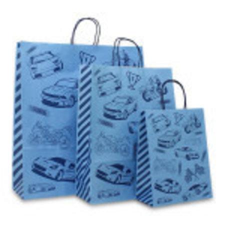 250 x Tragetaschen mit gedrehten Papierkordel  22 + 10 x 28 cm., robustes Dessin