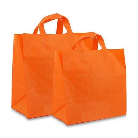250 x Plastic Imbisstaschen 21 + 15 x 19 cm.,Orange