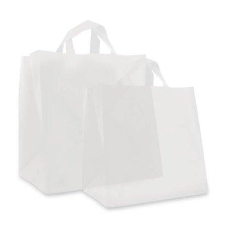 200 x Plastic Imbisstaschen 30 + 20 x 30 cm., Semi Transparant