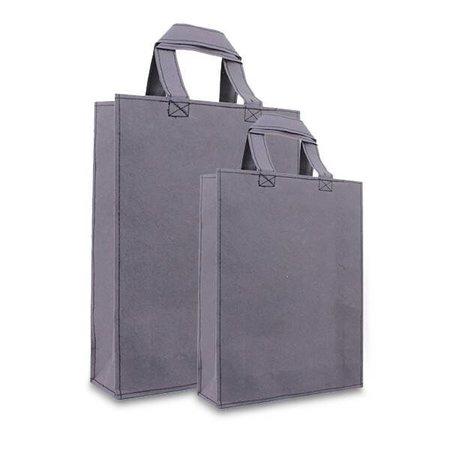 100 x Leatherlook Tasche 20+8x26cm, Dunkel grau