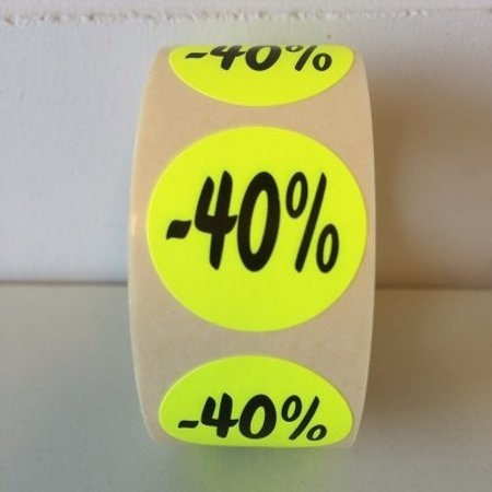 Fluoretiketten gelb 27mm -40% 500 Stck. je Rolle