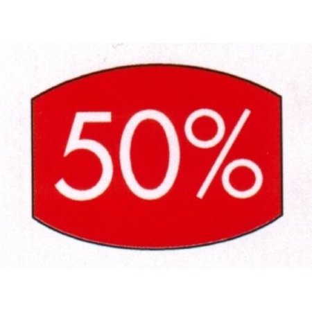 Etikett rot 33x25mm 50 Prozent 500 Stck. je Rolle