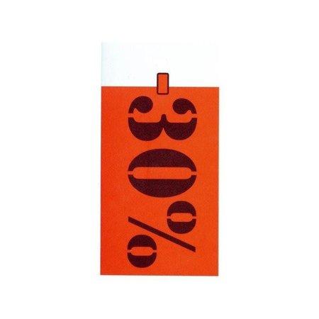 Auszeichnungs-Etiketten 35x70mm weiss bedruckt in rot und schwarz mit Rabattprozenten: -30%.Per 250 Stck..