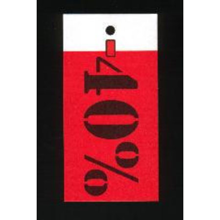 Auszeichnungs-Etiketten 35x70mm weiss bedruckt in rot und schwarz mit Rabattprozenten: -40%.Per 250 Stck..