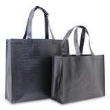 100 x Kroko Einkaufstaschen 32 + 12 x 25 cm., Matt schwarz