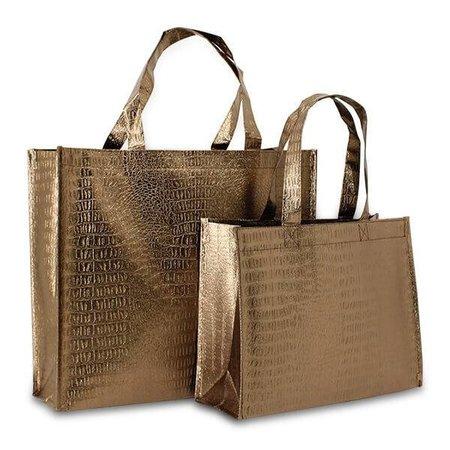 100 x Kroko Einkaufstaschen 32 + 12 x 25 cm., Bronze