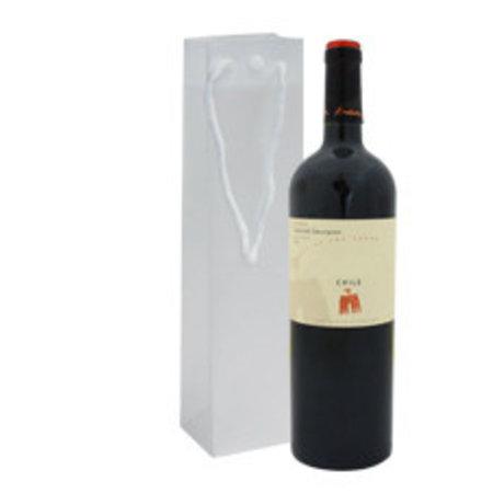 100 x Wein-Flaschentasche aus Kunstoff 12 + 10 x 36 cm., halb transparent