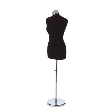 Damenbüste schwarz inkl. Rundfuß und Endkappe in chrom