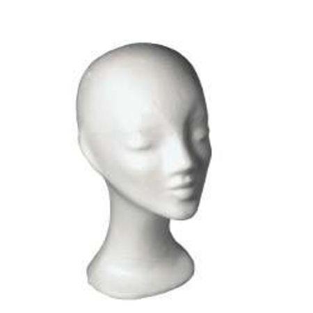 Perückenkopf Damenkopf weiß aus Styropor