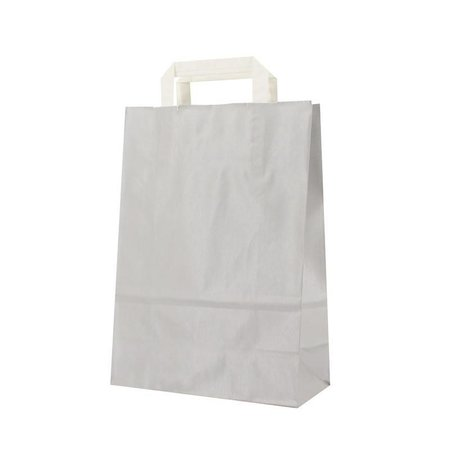 250 x Papiertragetaschen mit Flachhenkel 22 + 10 x 31 cm., außen silber