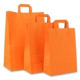 250 x Papiertragetaschen mit Flachhenkel - Orange