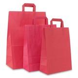 250 x Papiertragetaschen mit Flachhenkel - Rosa