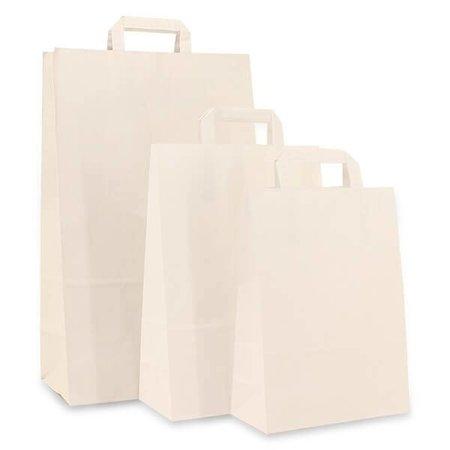 250 x Papiertragetaschen mit Flachhenkel 18 +8 x 22 cm., Weiß, ohne Druck