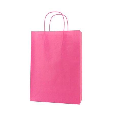 250 x  Papiertragetaschen  de luxe– 14+7x19 cm  rosa