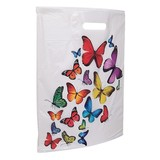 500 x Plastiktragetaschen mit butterfly dessin, 37 x 44 + 5 cm.