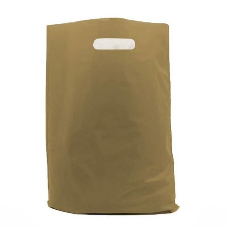 500 x Plastiktragetaschen mit ausgestanztem Griff 45 x 50 + 2 x 5 cm., gold