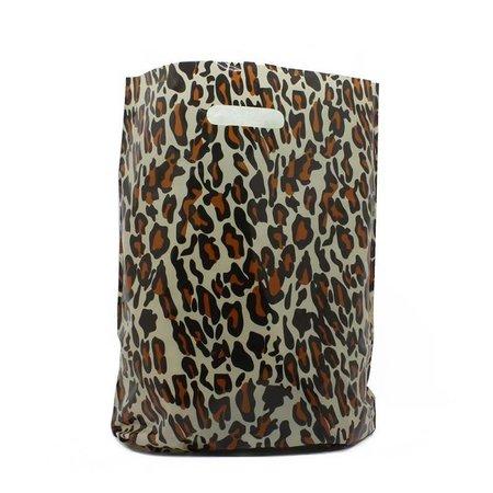 500 x Plastiktragetaschen mit ausgestanztem Griff 45 x 50 + 2 x 5 cm., Tiger Dessin