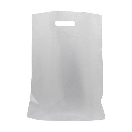 500 x Plastiktragetaschen mit ausgestanztem Griff 36 x 44 + 2 x 4 cm., halb transparent