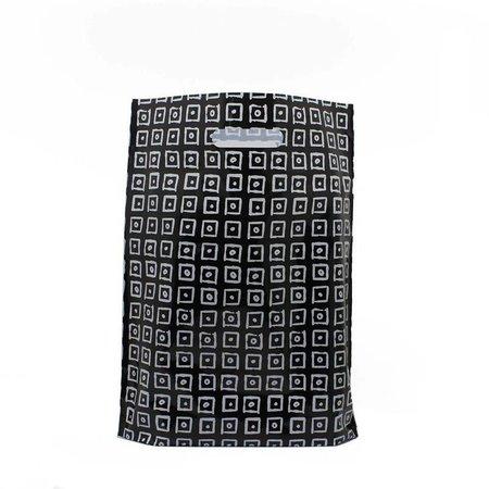 1000 x Plastiktragetaschen mit ausgestanztem Griff 25 x 35 + 2 x 4 cm., schwarz/weiß Block Dessin