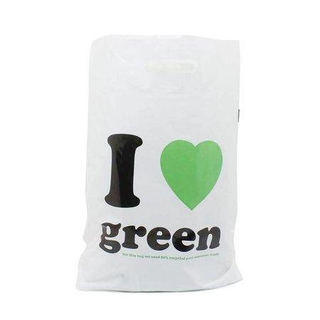 500 x Plastiktragetaschen mit ausgestanztem Griff 38 x 45 + 2 x 5 cm., schwarz/grün, I Love Green Dessin