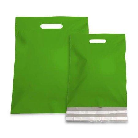 250 x Tragbarer Versandtasche 45 + 56 + 7 cm., außen grün