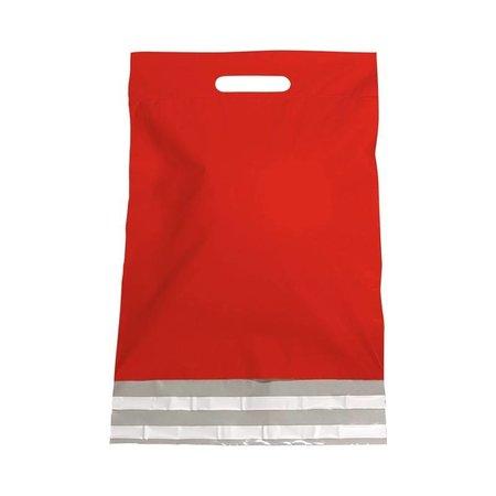 250 x Tragbarer Versandtasche 30 x 40 + 7 cm., außen rot