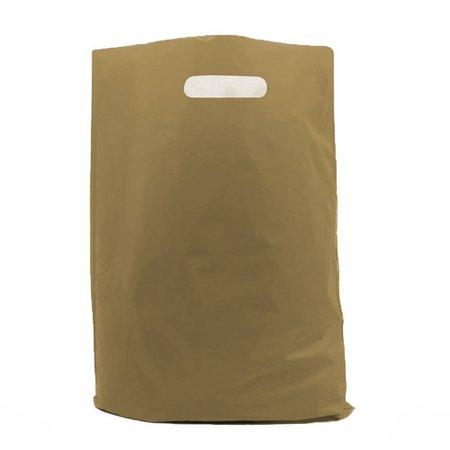 500 x Plastiktragetaschen mit ausgestanztem Griff 37 x 45 + 2 x 5 cm., gold