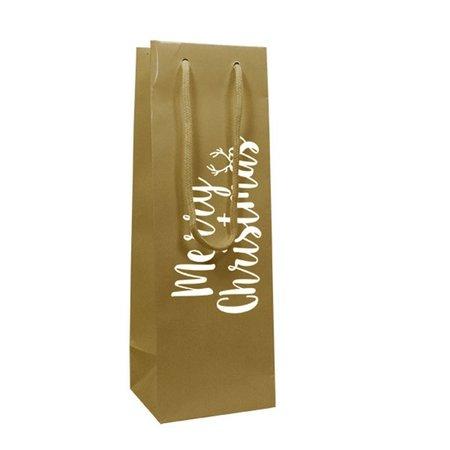 100 x Merry Christmas Papiertragetasche Weinflasche 10 + 10 x 35 cm
