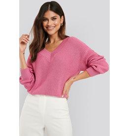 NA-KD NA-KD Vneck wide rib knitted sweater