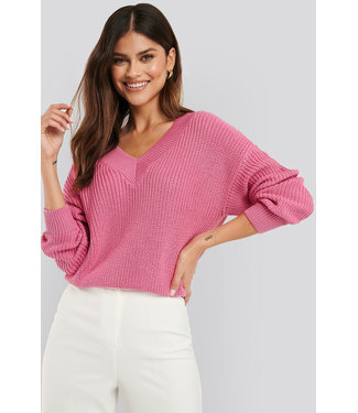 NA-KD Vneck wide rib knitted sweater