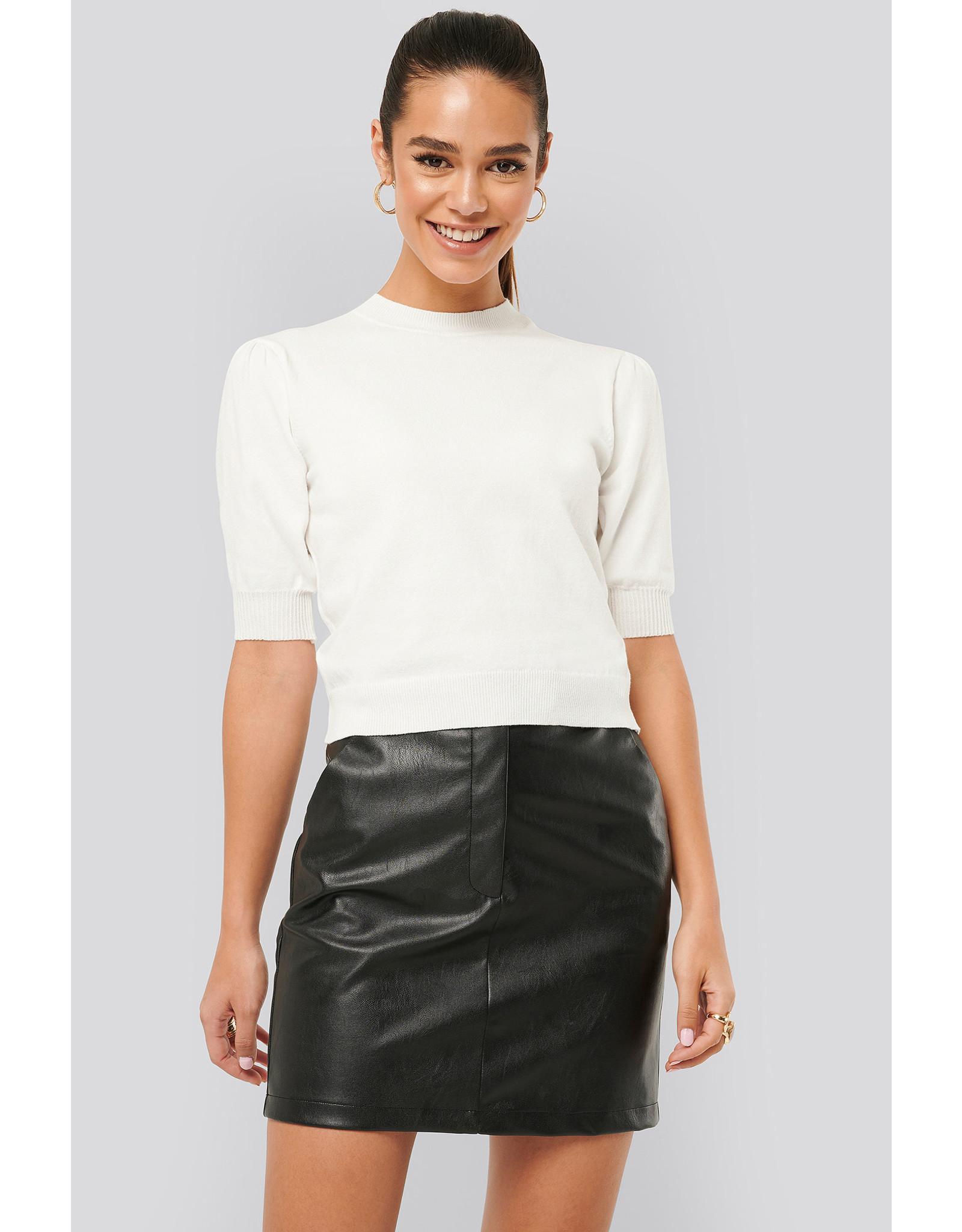 NA-KD Na-kd Short sleeve knitted top white
