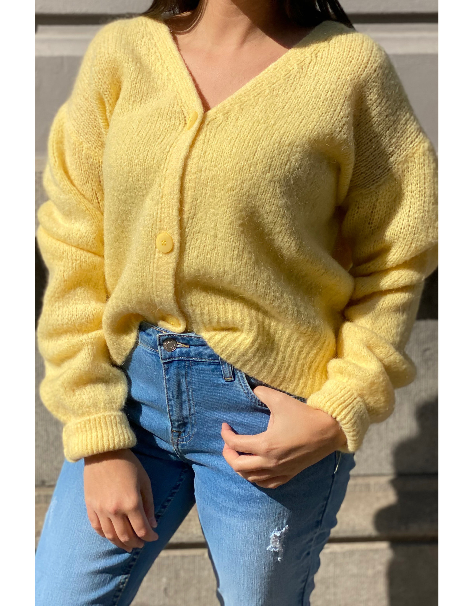 she's milano She's Milano x button cardigan soft yellow
