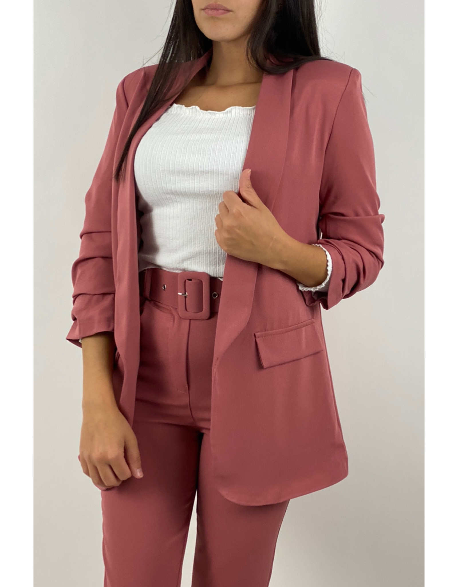 Classic belt trouser pink