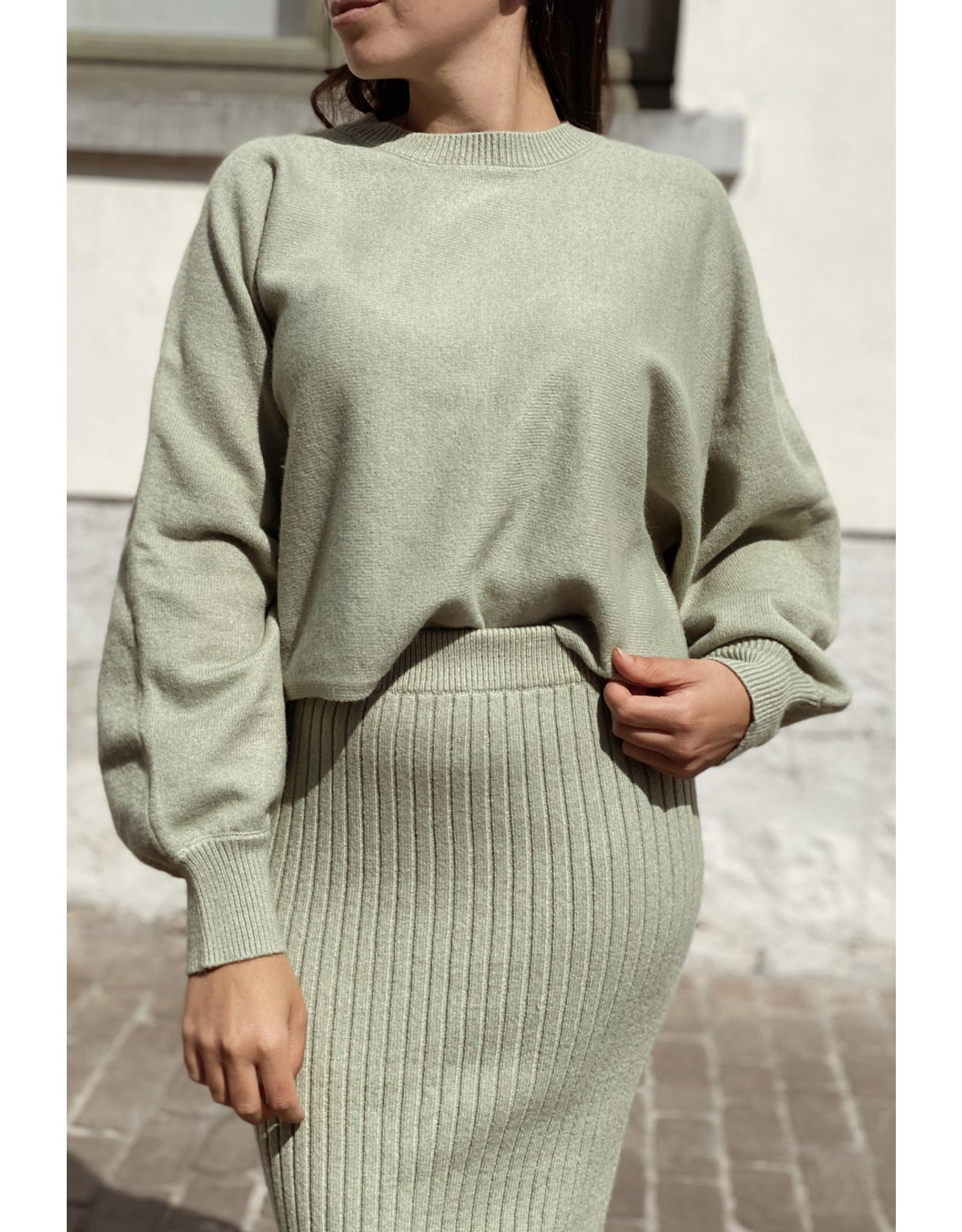 NA-KD NA-KD Rib knitted skirt green