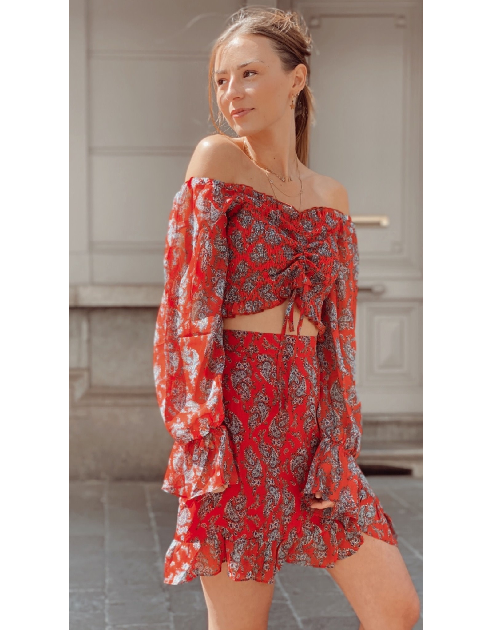 Eight Paris Bohemian Red top