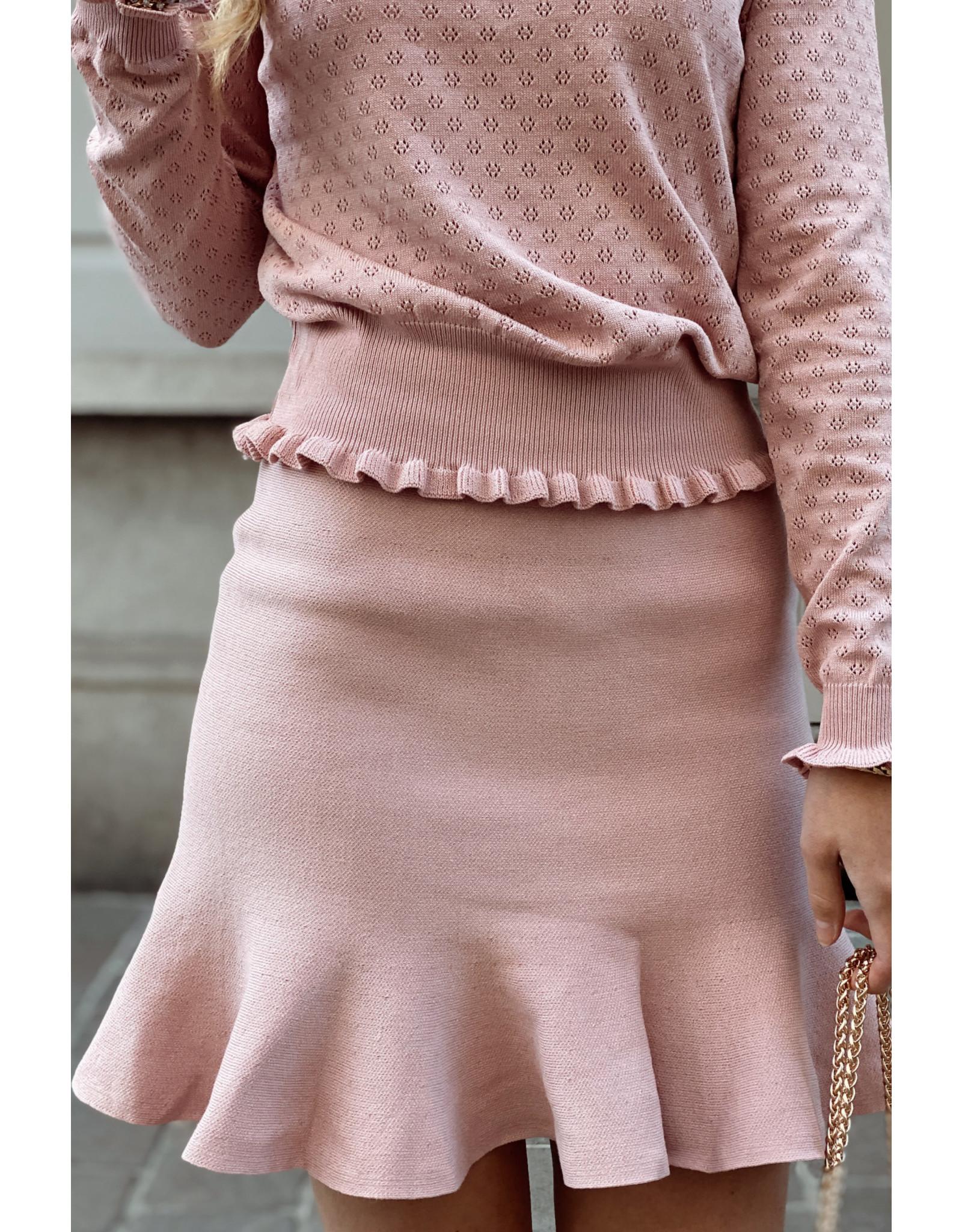 Flounce stretch skirt vieux rose
