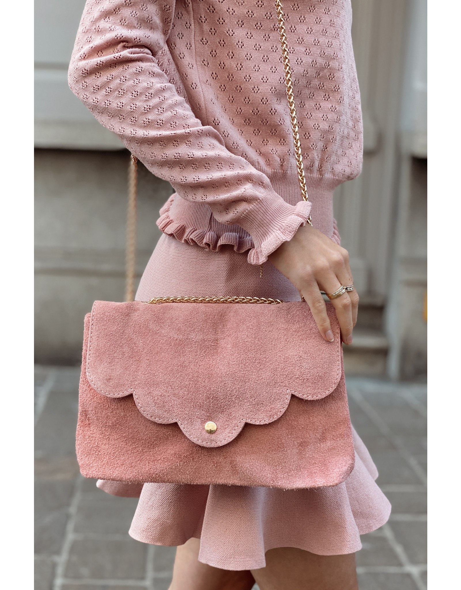 Vieux rose suede bag