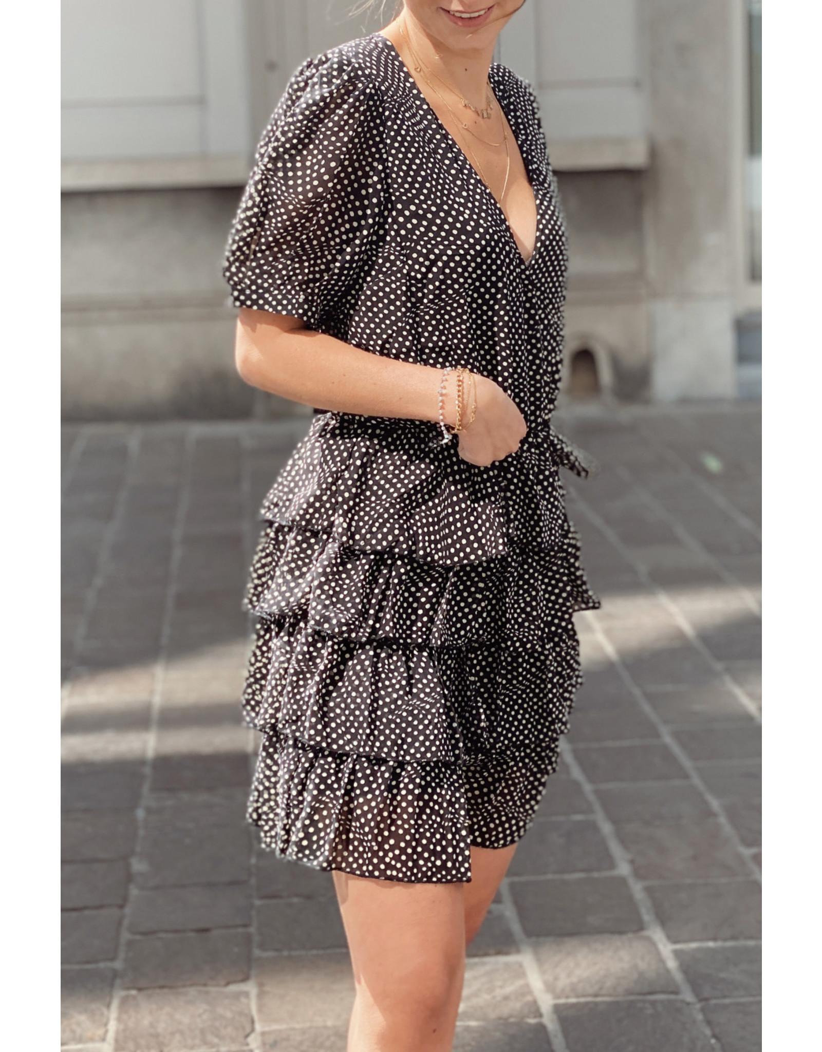 Ruffle dotted dress black/beige