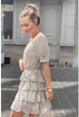 Ruffle dotted dress beige/black