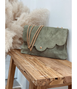 Kaki suede bag