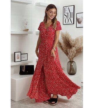 Jenner split dress red
