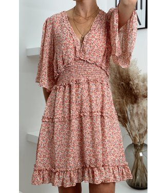 Rose flower ruffle dress