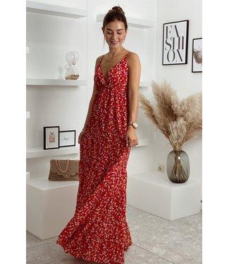 Maxi dress red flower