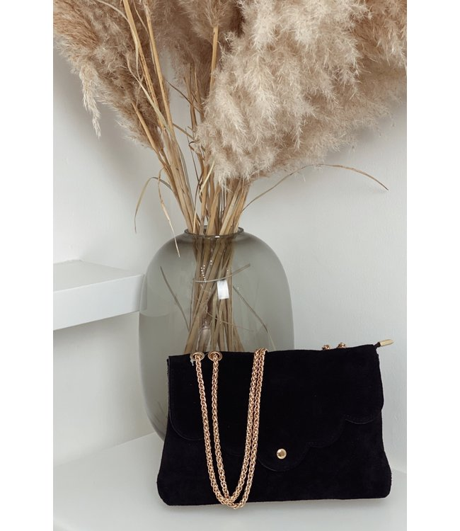 Black suede bag