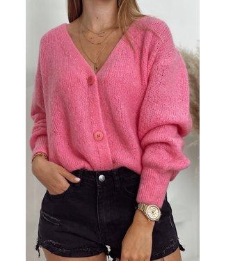 She's Milano x button cardigan fuscia pink