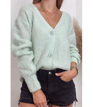She's Milano x button cardigan mint green