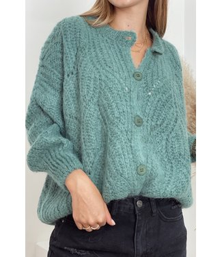 She's Milano x knitted cardigan sage green