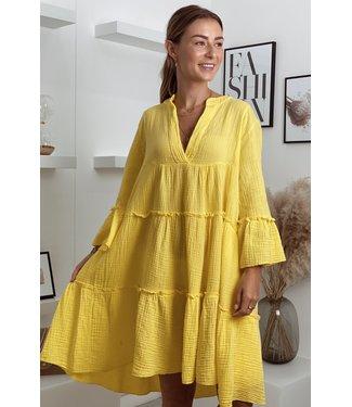 Desert boho dress short yellow